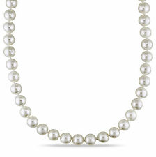 Amour 14k Yellow Gold Akoya White Pearl Strand Necklace 7-7.5 mm 17""