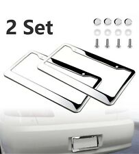 2pcs Metal License Plate Frame Tag Cover Screw Caps Chrome 304 Stainless Steel