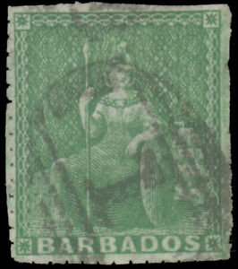 """BARBADOS 1859 (½p) PALE YELLOW GREEN PIN-PERF 14 USED #10 barred oval 1"""" cancel"""