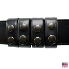 Bianchi 22092 AccuMold Elite Plain Black Leather Nickel Snap Belt Keepers 4 Pack