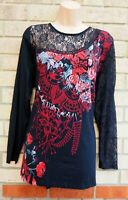 JOE BROWNS BLACK RED PAISLEY FLORAL LACE INSERTED VISCOSE TOP BLOUSE SHIRT 22