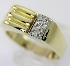 Mens diamond ring 14K yellow gold 8 round brilliants .10CT 8.4G sz11.5 geometric