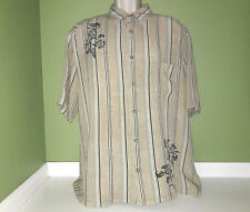 Claiborne Mens Shirt Button Front  Floral Striped Beige Short Sleeve Size XL