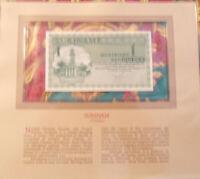 Most Treasured Banknotes Suriname 1 Gulden Nov 1974 P 116d UNC Prefix KC