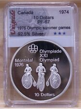 CANADA 1976 OLYMPIC $10 SILVER COIN **No 11** PROOF-67 IN SLAB HOLDER
