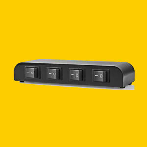 Lautsprecher-Umschaltpult-4-Wege Schaltbox-Umschalter-Metallgehäuse
