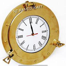 Brass Ship Porthole Clock Nautical Maritime Beach Style Wall Clock Home Decor