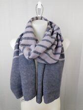 LAUREN Ralph Lauren Wool Blend Striped Knit Blanket Scarf Lavender Frost #844