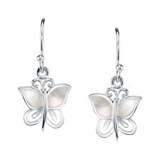Sterling Silver Mother of Pearl Butterfly Earrings for her with fishhook backs