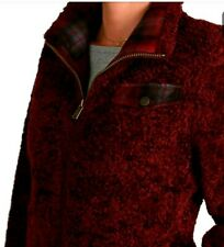 Pendleton Ladies' Women's Zip Up Fuzzy Sherpa Coat Dark Red Size Large