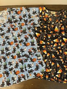 Halloween Scrub Tops Lot of (2) Size Large