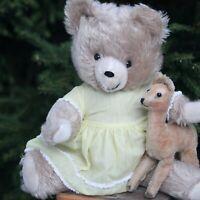 Very Rare Smiling TEDDY BEAR made by SONNY w STEIFF LAMA & DOLL DRESS