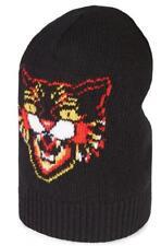 "NEW GUCCI CURRENT BLACK SOFT LANA WOOL ""ANGRY CAT"" BEANIE HAT 58/MEDIUM"