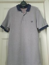 Mens Fred Perry Polo Shirt denim Blue Size Medium Slim Fit