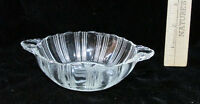 Vintage Pressed Glass Candy Dish w/ Handles Art Deco Clear Round Ribbed
