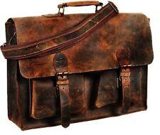 Vintage Bull Leather Tote Mens Briefcase 16'' Laptop Case Messenger Shoulder Bag