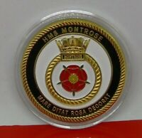 Gold Plated Medal Medallion Royal Navy HMS Montrose Type 23 Frigate Ship COA