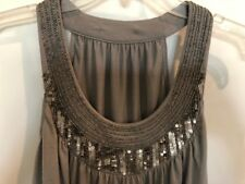Cute Gray Blingy Sequin Ladies Shirt / Top / Blouse  - Size M - Sleeveless