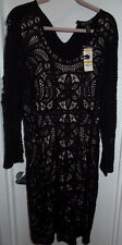 INC Crochet Knit Rounded Neckline Plus Size Dress 3X - Black and Pink