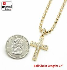 "Hip Hop 14k Gold Plated Cross Pendant 27""  Ball Chain Necklace MMP 818 G"