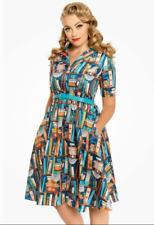 Lindy Bop 'Bletchley' Books Bookcase Print Vintage Style Shirt Dress BNWT