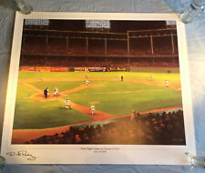 DICK PEREZ FIRST NIGHT GAME EBBETS FIELD 1938 LITHO HAND SIGNED ARTIST PROOF