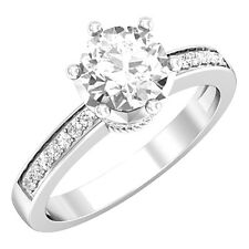 Solitaire Diamond Engagement Rings Sterling Silver Round Cut VVS1/D size 6 7 8 9