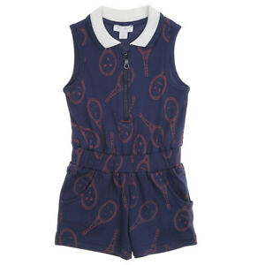 Navy with Tennis Racket Print Jumpsuit /Bodysuit for Girls | 2 3 4 5 6 7 8 Years