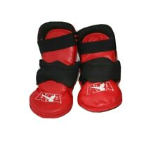 PAIR ATA Taekwondo Karate Red 100% Vinyl Gear Foot Pads Size 9 &YOUTH L/XL Glove