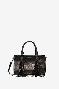 ** Woman spain DESIGUAL bag Black handbag Cylinder bag with fringe 19WAXPBE2004U