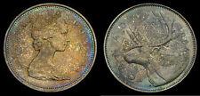 Canada 1966 Silver 25 Cents Choice Dark Toning UNC