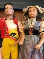 Antique hand carved Spanish dolls 1969 OOAK Man and Woman