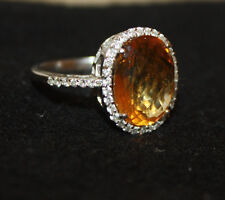 ESTATE 18K White Gold elegant diamond & citrine abstract cocktail ring size 9