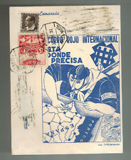 1937 Spain Postcard Cover Civil War Socorro Rojo Label