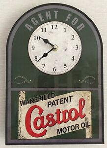 CASTROL VINTAGE RETRO TIN SIGN CLOCK- GIFT HOME, OFFICE, GARAGE, MANCAVE
