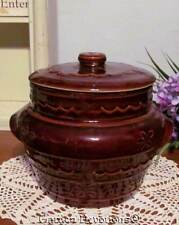 "Bean Pot FLoral 2 quart 7"" VINTAGE BROWN HARCREST Oven Proof Stoneware"