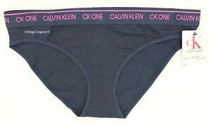 "NWT Calvin Klein QF5735 ""cK One"" Cotton Logo Bikini, Navy Blue / Pink (476)"