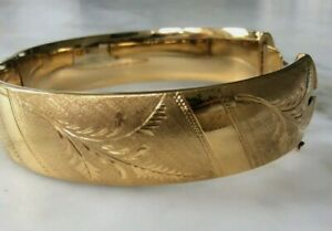 Vintage 1960's 1/5th 9ct Rolled Metal Core Yellow Gold Engraved Bangle 31 Grams