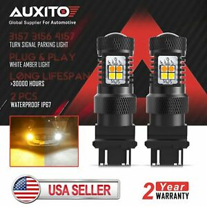 AUXITO 3157 White Amber LED Turn Signal Light DRL for 2001-14 GMC Sierra 2500HD