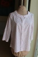 New Kew 159 size 16 White pink grey button back 3/4 sleeve blouse with collar