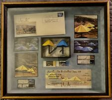 "CHRISTO * Custom Montage in Shadowbox * Signed Items * Actual 3"" Cloth Umbrellas"