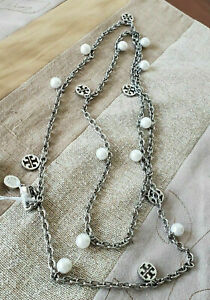 Tory Burch Women's Silver Pearl Logo Charm Rosary Necklace