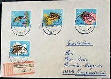 GERMANY DDR 1990 REGISTERED COVER FRANKED WITH COMPLETE HONEY BEES SET STAMPS