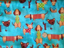 Doxies Chihuahua Brown Puppy Dogs Dog Teal Blue Quilt Fabric Fat Quarter FQ FQs