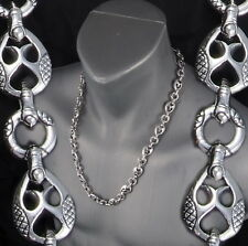 """159g 28"""" TRIBAL DRAGON ARTISAN RINGS MENS NECKLACE CHAIN 925 STERLING SILVER PRE"""