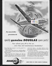 DOUGLAS AIRCRAFT 1949 MATS MILITARY AIR TRANSPORT DC-6 SPECIFY GENUINE PARTS AD