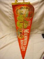 "Vintage Mammoth Cave Kentucky Souvenir Pennant Large 28"" Orange Echo River"