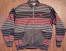 LONSDALE MENS ZIP UP SWEATER STRIPED RED GRAY XL LONDON LONG SLEEVE L/S