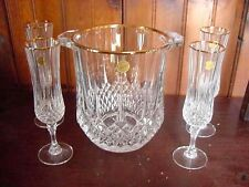 LONG CHAMP CRYSTAL CRISTAL D ARQUES ICE BUCKET 4 GLASSES GOLD RIM ORIGINAL BOX
