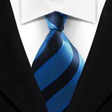 TK032 Blue Stripe New Classic WOVEN Silk JACQUARD Necktie Men's Tie